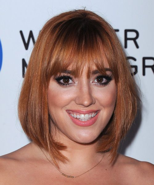 Andrea Bowen Hairstyle - Casual Medium Straight. Click on the image to try on this hairstyle and view styling steps!