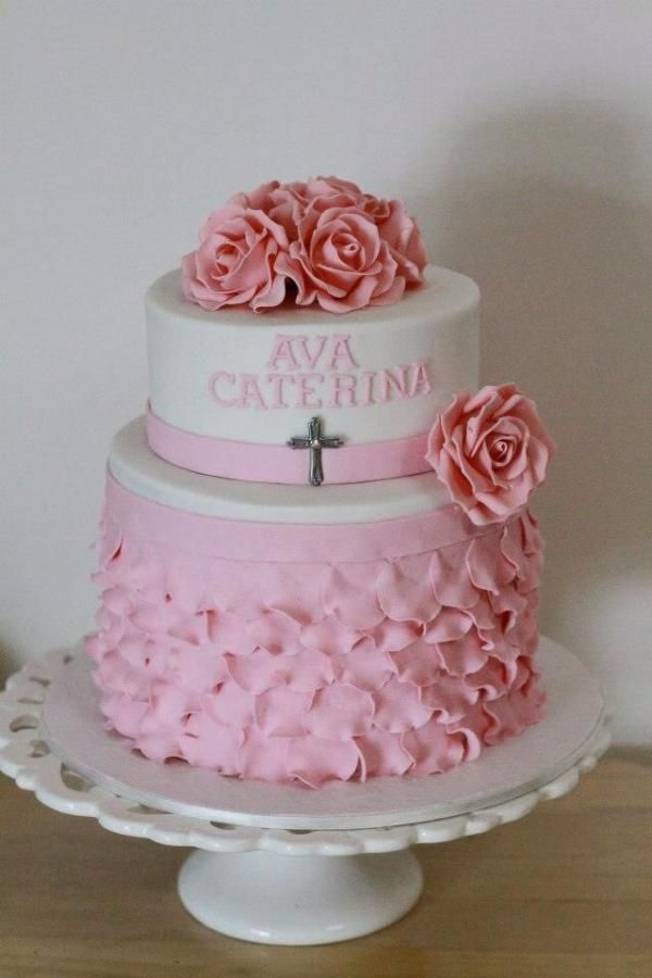 Silver And White Baptism Cake Non Fondant