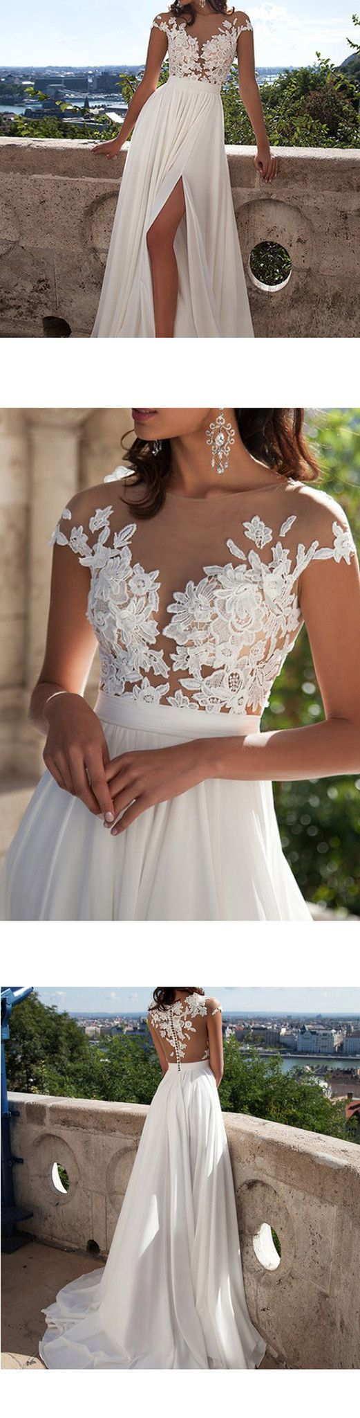 Long A-Line White Lace Prom Dress With Appliques, Side Slit Sexy Wedding Party Dress, WD0124