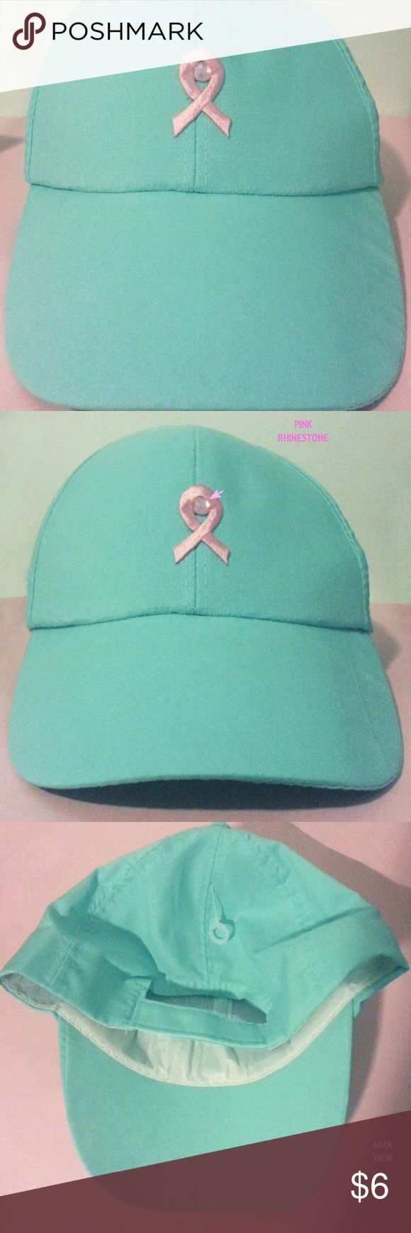 Breast Cancer Awareness Cap Pink Ribbon Hat This has never been worn, new but without tags, in great condition-see pics Baby Aqua Blue Color Adjustable velcro closure strap on back for comfort fit Lightweight material Not to be washed in washer machine Only hand wash if needed after wearing Measurements of ribbon symbol from top to bottom is 33 1/2 mm Pink Rhinestone  Plastic tag fastener still attached One size fits most.... Accessories Hats