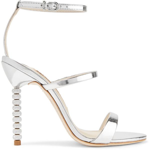 Sophia Webster Rosalind crystal-embellished metallic leather sandals (€440) ❤ liked on Polyvore featuring shoes, sandals, silver, strappy high heel sandals, strappy sandals, metallic leather sandals, high heels sandals and leather sandals