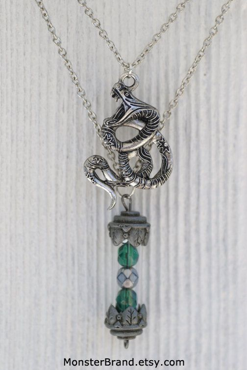 Layered Slytherin House Vial Necklace, Harry Potter Jewelry