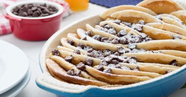 Chocolate Chip Pancake Casserole   Easy Pancake Casserole Recipes   https://homemaderecipes.com/pancake-casserole-recipes/