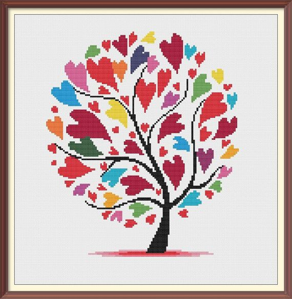 Hearts 1 Modern Cross Stitch Pattern PDF Chart Instant Download Colorful Hearts with Tree Valentine's Day