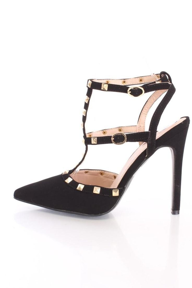 """The Glaze Arya-2 are fierce pointy heels featuring cage-style straps mixed with lots of on-trend burnished gold pyramid studs. This classic t-strap lengthens your legs with a dressy buckle strap. Play with proportions by pairing the Arya-2 with a fitted skirt and and peplum top.     Heel height: 4.5""""   Arya-2 Heels by Glaze . Shoes - Pumps & Heels - Black Shoes - Pumps & Heels - High Heel Pennsylvania"""