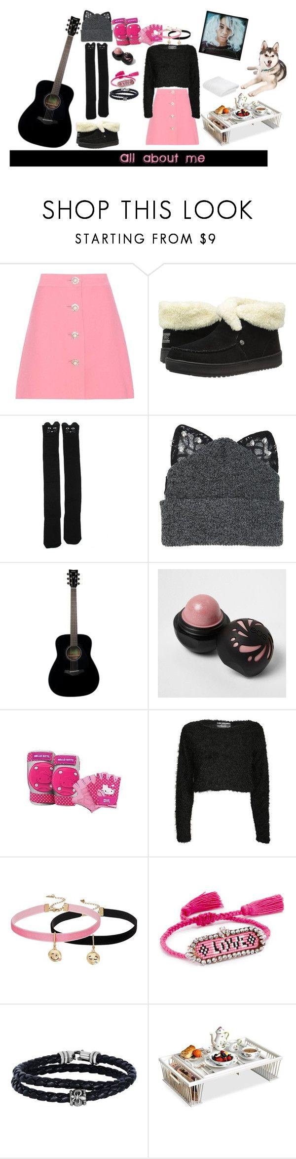 """All about me"" by firdawskone on Polyvore featuring Miu Miu, BOBS from Skechers, Silver Spoon Attire, Yamaha, River Island, Hello Kitty, Pilot, Steve Madden, Shourouk and Phillip Gavriel"