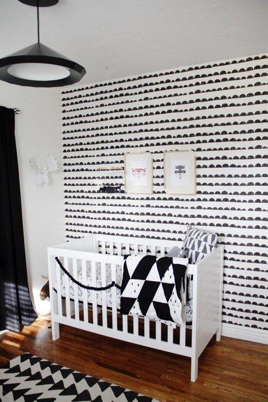 Black and White Scandinavian Modern Nursery with Geometric Pattern and Ferm Living Wallpaper