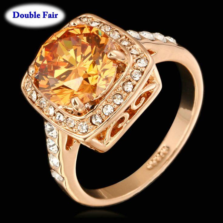 Emoldurado grande Cristal Casamento Anel de Dedo Para Mulheres Cor de Rosa de Ouro Marca de Moda de Alta Qualidade Jóias anel DWR057 em Anéis de Jóias & Acessórios no AliExpress.com | Alibaba Group
