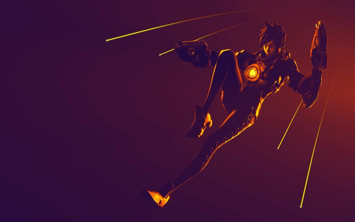 Download wallpapers 4k, Tracer, cyber warrior, neon lights, shooter, Overwatch