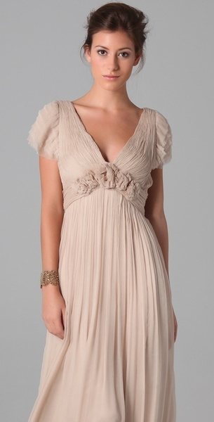 Leila Hafzi Wedding Dresses   Leila Hafzi Bridal Fariba Ruffle Sleeve Gown in Beige (champagne ...