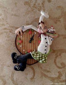 Часы «Веселый повар» из соленого теста. Мастер-класс.