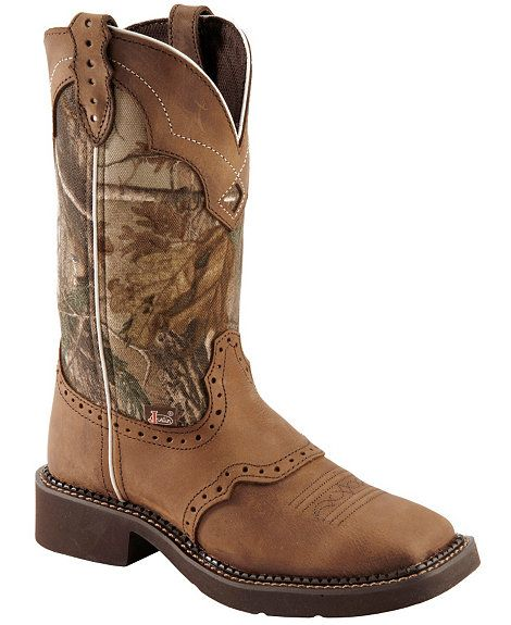 Justin Gypsy Real Tree Camo Cowgirl Boots - Square Toe for my future wedding  my boots and the bridesmaids and the flower girl