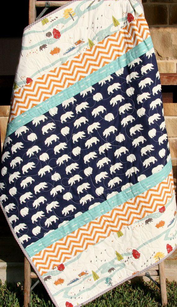 Boy Quilt, Modern Stripes, Bear Hiking Forest Canoeing, Birch Fabrics, Organic All Natural Baby Boy Blanket, Navy Blue Orange Chevron by SunnysideDesigns2