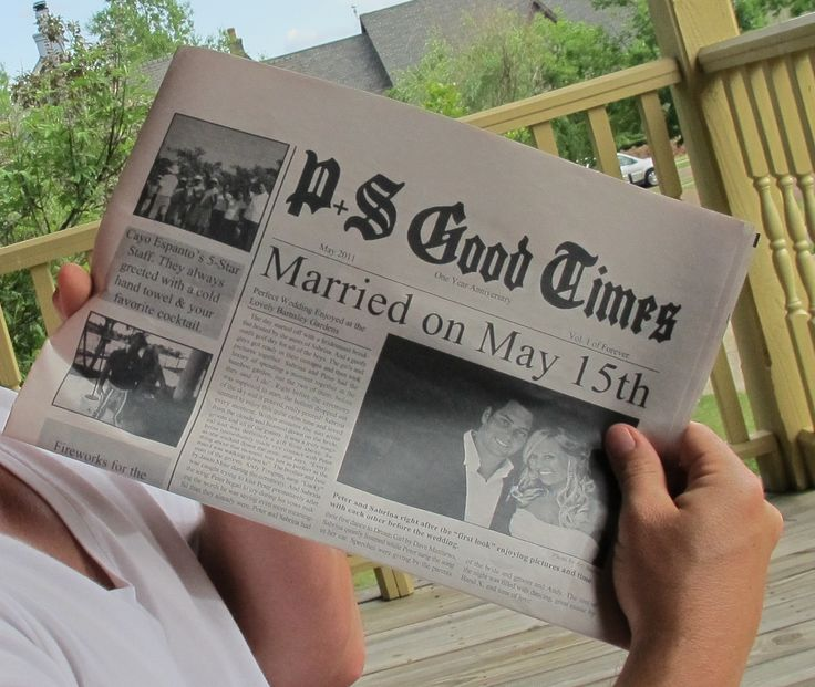 Newspaper of your first year - for traditional 1 year anniversary paper gift- such a cute gift idea!