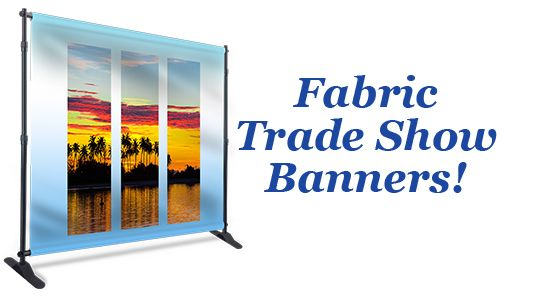 $199+ shipping & tax for a 8'x8' printed fabric trade show banner, stand & carrying bag. Offer expires 4/14/17.
