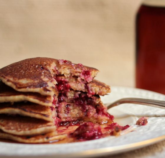 Vintage Kitchen Notes: Cornmeal Berry Pancakes + Homemade Maple Syrup