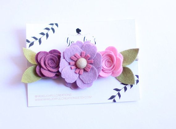 Valentine's day headband Felt Flower by YayasJoyfulcreations