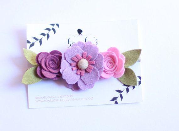 Fieltro flor diadema corona de flores de por YayasJoyfulcreations