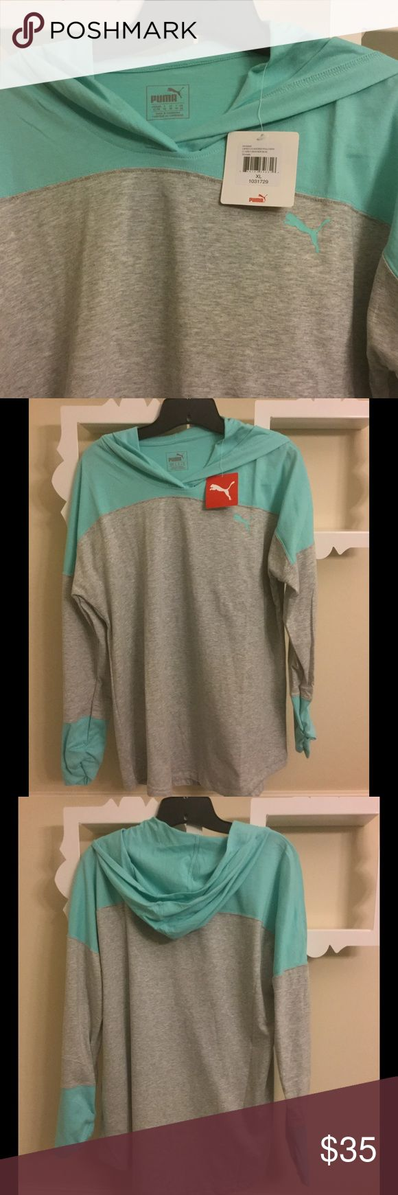 💝NWT PUMA hoodie/hooded pullover XL💝 Brand new, never worn Puma sweatshirt with hood/hooded pullover. Light heather gray and pretty blue. XL. Puma Tops Sweatshirts & Hoodies