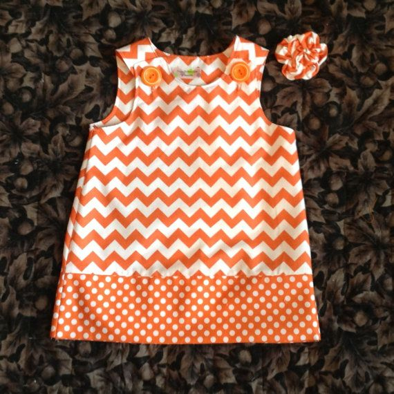 Possible dress for Ashleigh's wedding for the girls comes in size newborn - 4T Chevron Dress Orange & White baby toddler by SewSusanCreations, $25.00