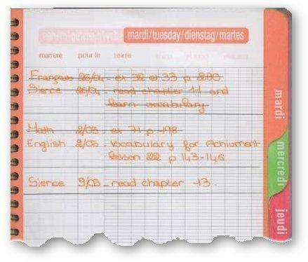 Le cahier de texte, avec une page par jour de semaine ! La révolution quand j'ai eu un agenda avec une page par jour !