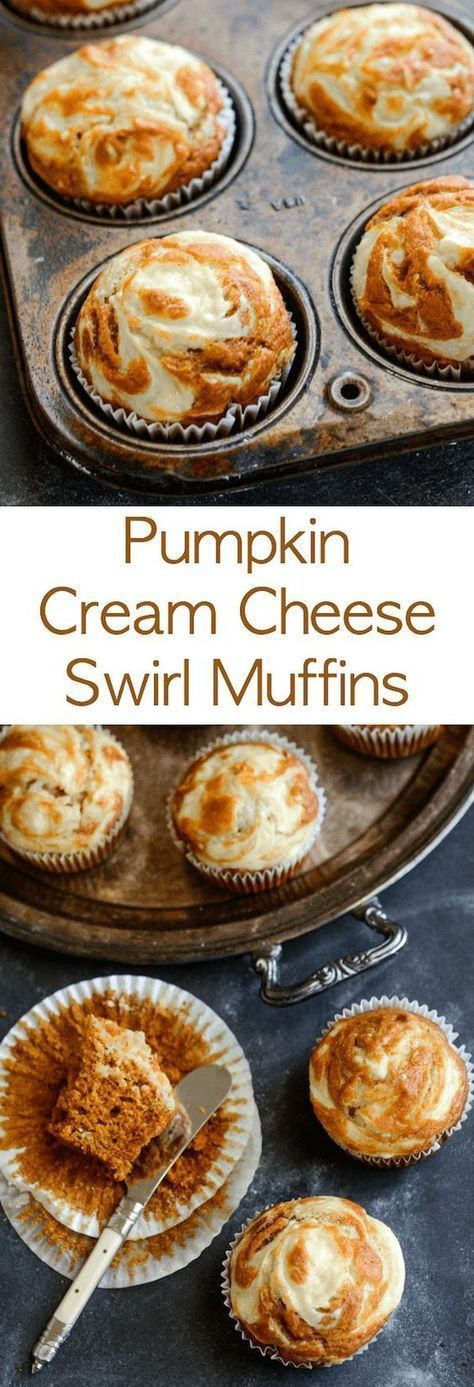 Pumpkin Cream Cheese Swirl Muffins: moist spiced pumpkin muffins are topped with sweet cream cheese that melts into them as they bake and only take 30 minutes!
