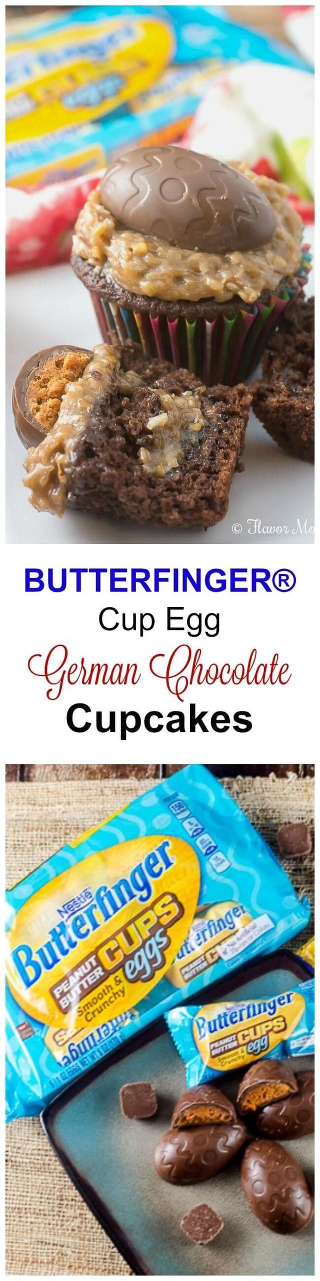 BUTTERFINGER® Cup Egg German Chocolate Cupcakes make fun treats for Easter.  #EggcellentTreats #ad @butterfinger