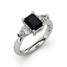 Emerald-Cut Black Onyx Ring | Gemvara