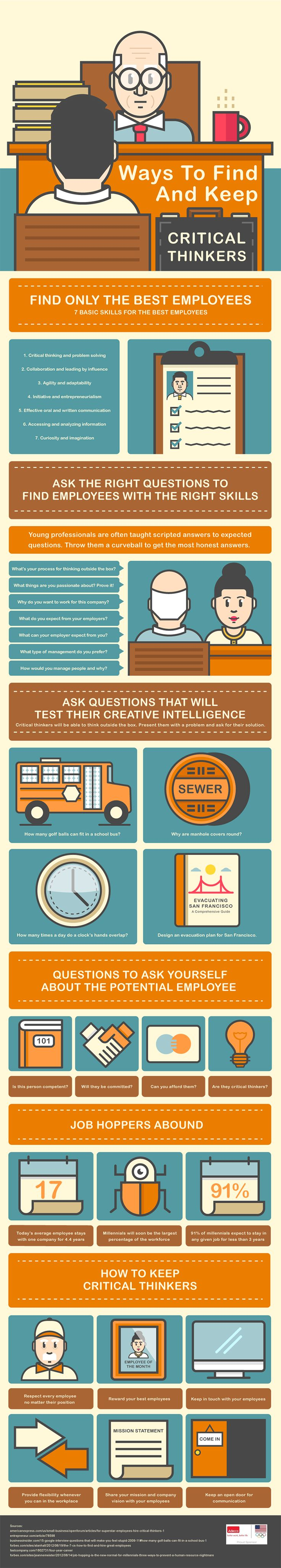 Unique Infographic Design, Ways To Find And Keep Critical Thinkers #Infographic #Design (http://www.pinterest.com/aldenchong/)