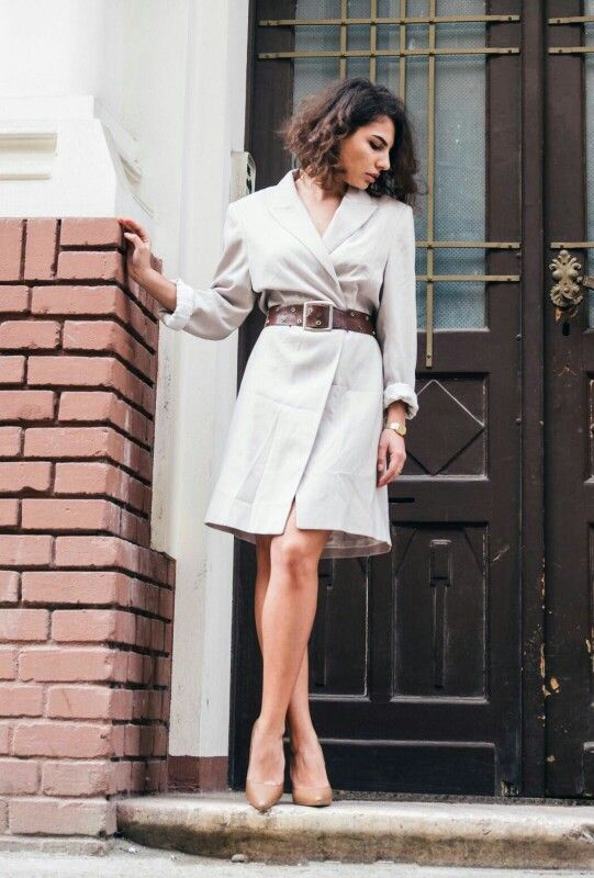 Spring casual outfit  Nude dress