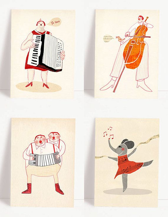 Set of 4 various music postcards music by RedCheeksFactory