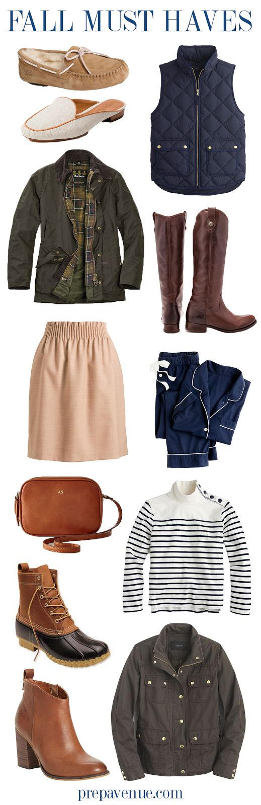 Fall Must Haves // www.prepavenue.com  fall, autumn, clothes, looks, preppy, prep, southern, south, looks, ootd, outfit, look, looks, pictures, essentials, fashion, college, casual, skirt, shoes, jacket, pants, boots, classic, classy, style, blogger, blog