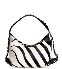 "Chimpel ""NAFS"" Leather Hobo Handbag. Zebra embossed leather with crocodile leather handle. Cape Town, South Africa"