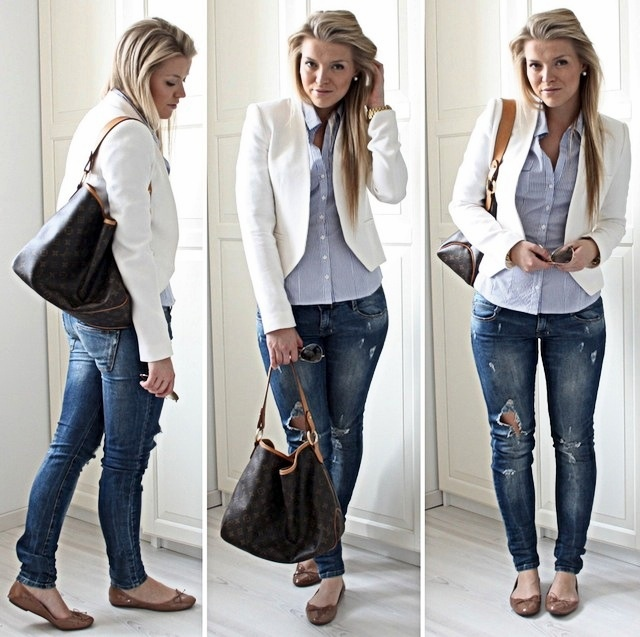 Inspiration for a white jacket I have in my closet. Love this style of jacket with skinny jeans.