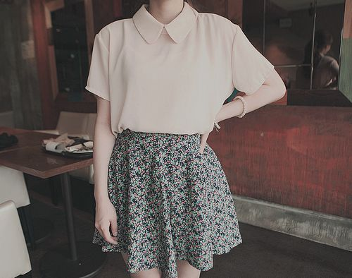 flower print skirt with a collared shirt