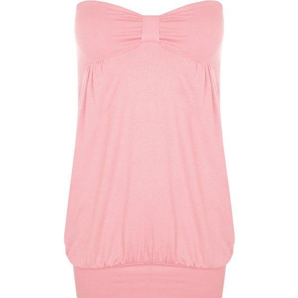 Rebekah Plain Bandeau Top (£15) ❤ liked on Polyvore featuring plus size women's fashion, plus size clothing, plus size tops, pink, tube top, plus size red tops, plus size tube tops, pink bandeau bikini top and bandeau bikini tops
