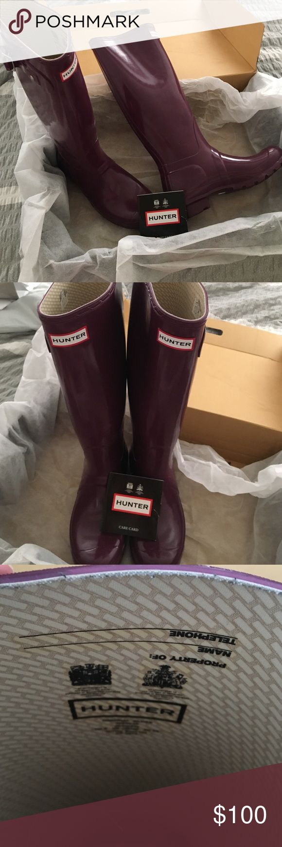 "Hunter Rain Boots Mint Condition Purple (""Dark Ruby"") Hunter Rain Boots. Worn twice and stored in original box for safe keeping. Size 7M. Hunter Boots Shoes Winter & Rain Boots"