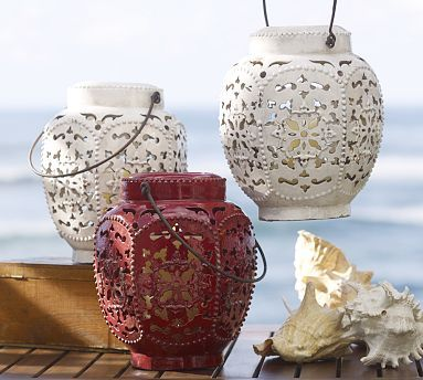 Elise Punched Lanterns #potterybarn: Punch Lanterns, Punch Ceramics, Outdoor Patio, Elie Punch, Barns Elis, Ceramics Lanterns, Lanterns Potterybarn, Pottery Barns, Elis Punch