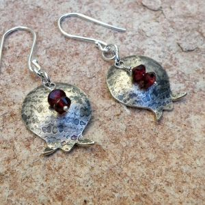 Pomegranate Sterling Silver Dangle Earrings with by EfratJewelry, $47.00 by Sandra Du Toit