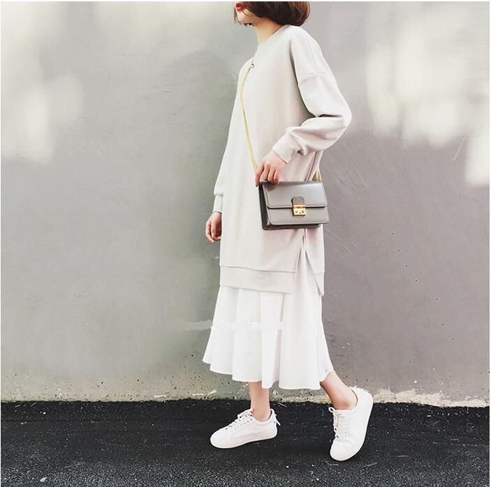 2018秋冬切り替えの偽2点パーカーワンピースゆったり体型カバー 重ね着風 黒 灰 normcore fashion style