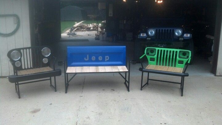 Jeep parts turned into outdoor furniture