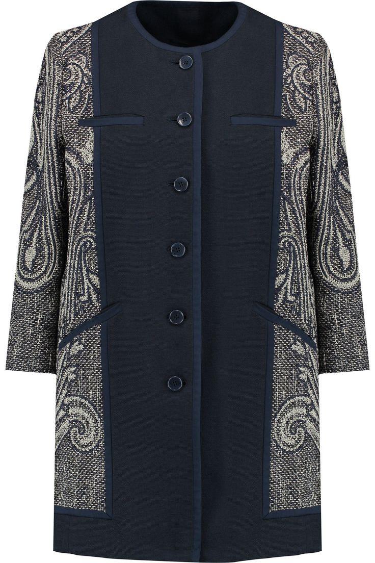 Etro Woven cotton-blend and jacquard coat