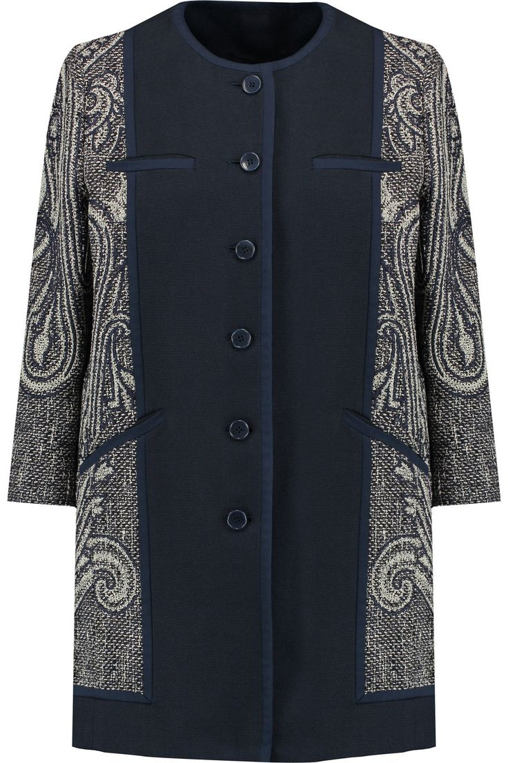 Etro Woven cotton-blend and jacquard coat