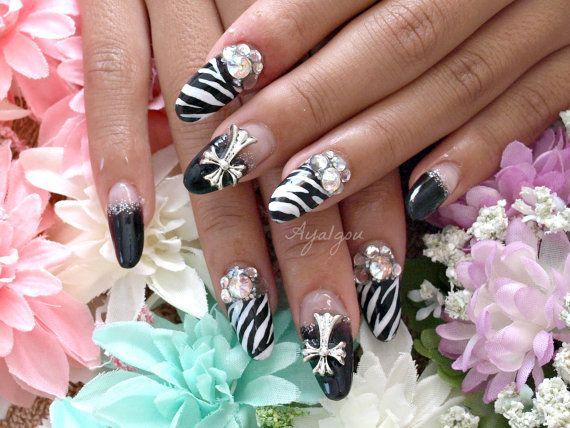 Gyaru, Japanese nail art, acrylic nails, black and white, zebra, cross, 3D nails, rock, glam nails