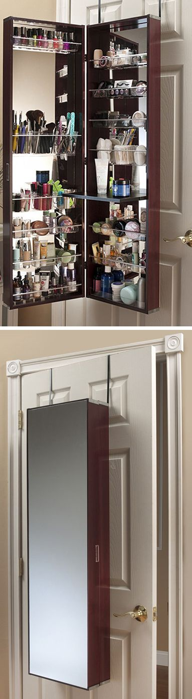 Over-the-door cosmetic organizer armoire w/ mirror in cherry // A must for apartment living!