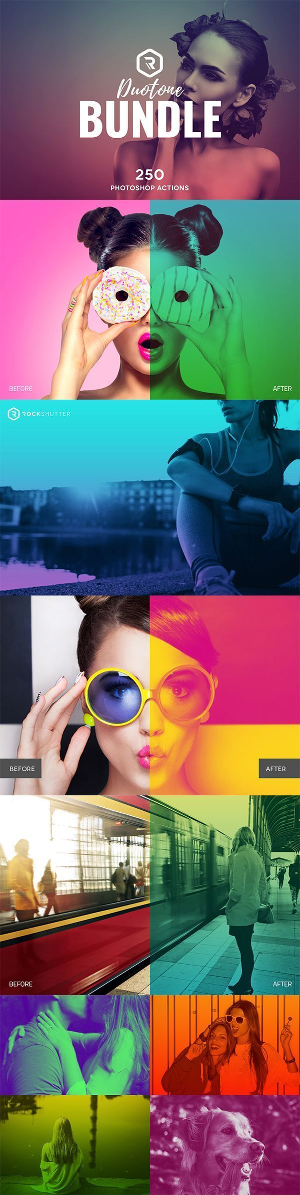 Looking for massive value? Then this big bundle of Premium Photoshop Actions is for you. Get our two popular Duotone Collections plus other 30 exclusive duotone gradients in a single pack at a discounted price. Get them all for just $29. Professional and easy to use actions, this bundle has everything you'll need to make your photos limitless.