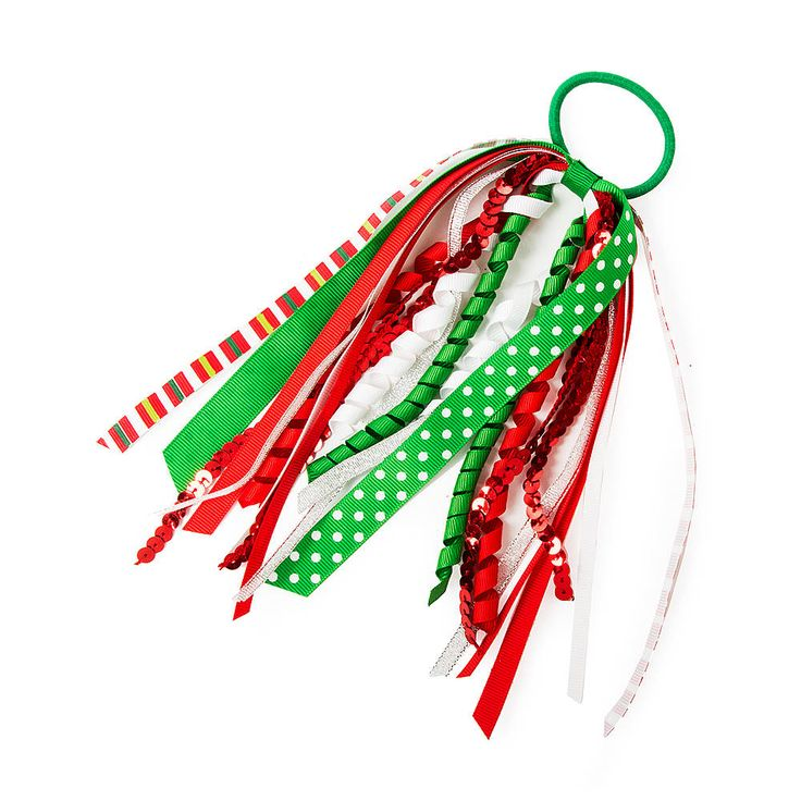 Holiday Curly Ribbon Streamers Ponytail Holder | Claire's $6.25