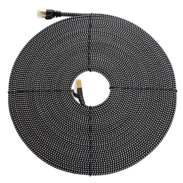 CAT-7 10 50 ft. Gigabit Ethernet Braided Cable for Modem Router LAN Network Shielded RJ45 Connectors, Black and White