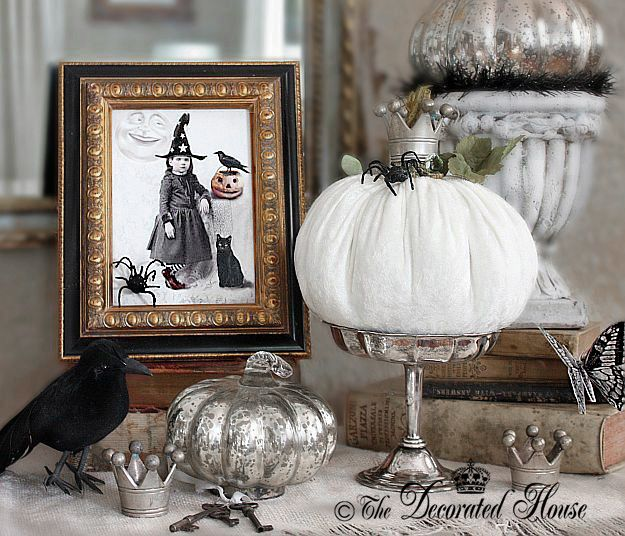 the decorated house fall decorating elegant halloween decorating with mercury glass and velvet - Elegant Halloween Decor