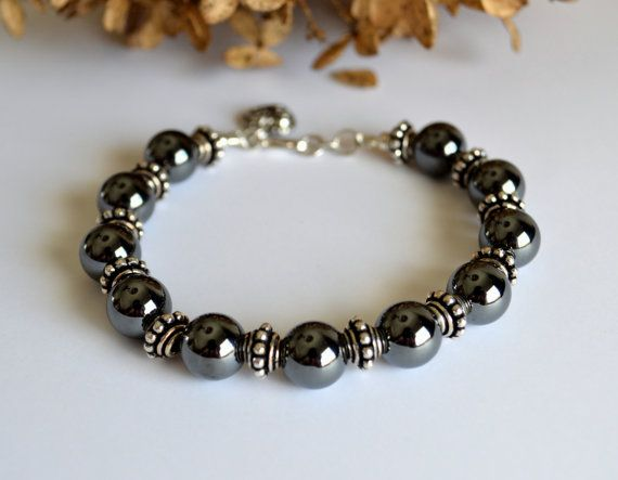 Hematite and silver bracelet hematite jewelry by starrydreams